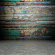 3d wall with decorative wooden texture, empty interior — Stock Photo