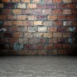 3d wall with brick texture, empty interior — Stock Photo