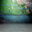3d wall with peeling paint texture, empty interior — 图库照片