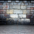 3d wall with stone and brick texture, empty interior — Stock Photo