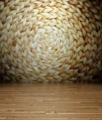 3d parquet and wicker texture, empty interior — Stock Photo