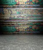 3d wand mit dekorativen holz textur, leeren inneren — Stockfoto