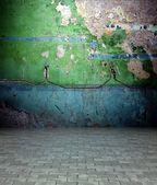 3d stěna s peeling malování textury, prázdný interiéru — Stock fotografie