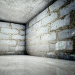 3d corner, concrete brick interior — Foto Stock