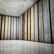 Stock Photo: 3d corner of old grunge wooden interior