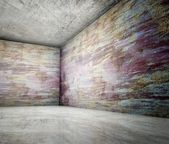 3d corner of old grunge concrete interior — Stock Photo