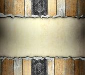 Cracked wooden template with old paper background — Stock Photo