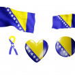 The Bosnia and Herzegovina flag - set of icons and flags — Stock Photo