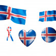 The Iceland flag - set of icons and flags — Stock Photo