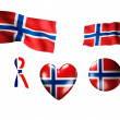 The Norway flag - set of icons and flags - Stock Photo