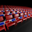 Stock Photo: Empty cinema hall and 3d glasses