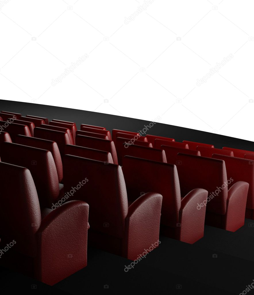 3d Empty cinema screen with auditorium — Stock Photo #9546884