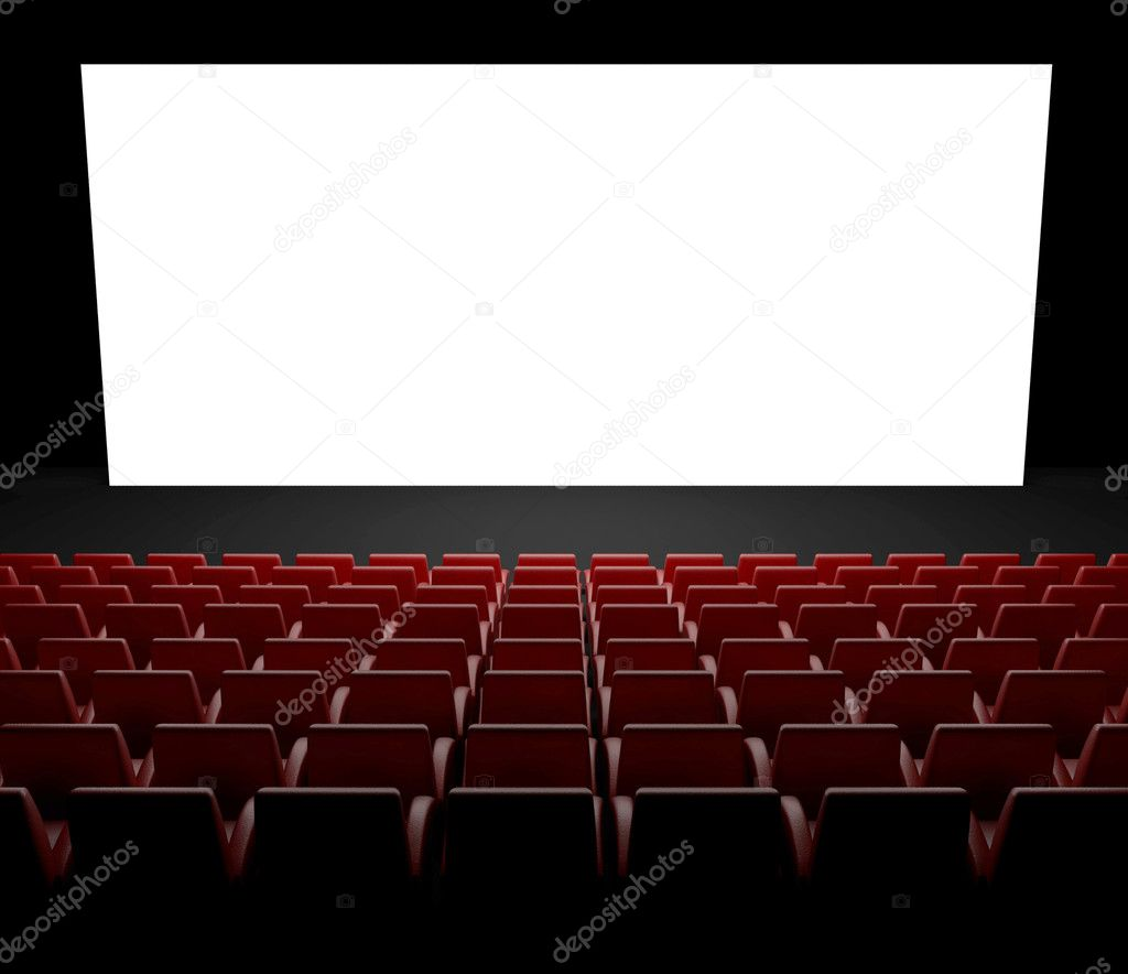 3d Empty cinema screen with auditorium — Stock Photo #9546886
