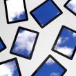 3d tablet pc, sky background on screens — Stock Photo #9785856
