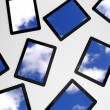 3d tablet pc, sky background on screens — Stock Photo