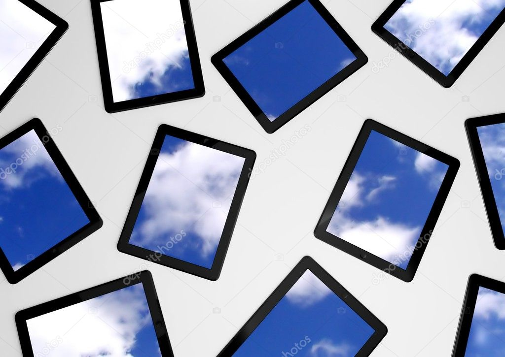 3d tablet pc with sky background on screens — Stock Photo #9785856