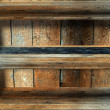 3d empty grunge wood shelf — Stock Photo