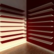 Stock Photo: 3d modern indoor, empty shelf