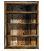 3d empty grunge wood shelf — Stock Photo