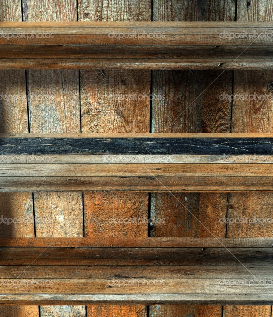 3d empty wood shelf, grunge interior — Stock Photo #9958000