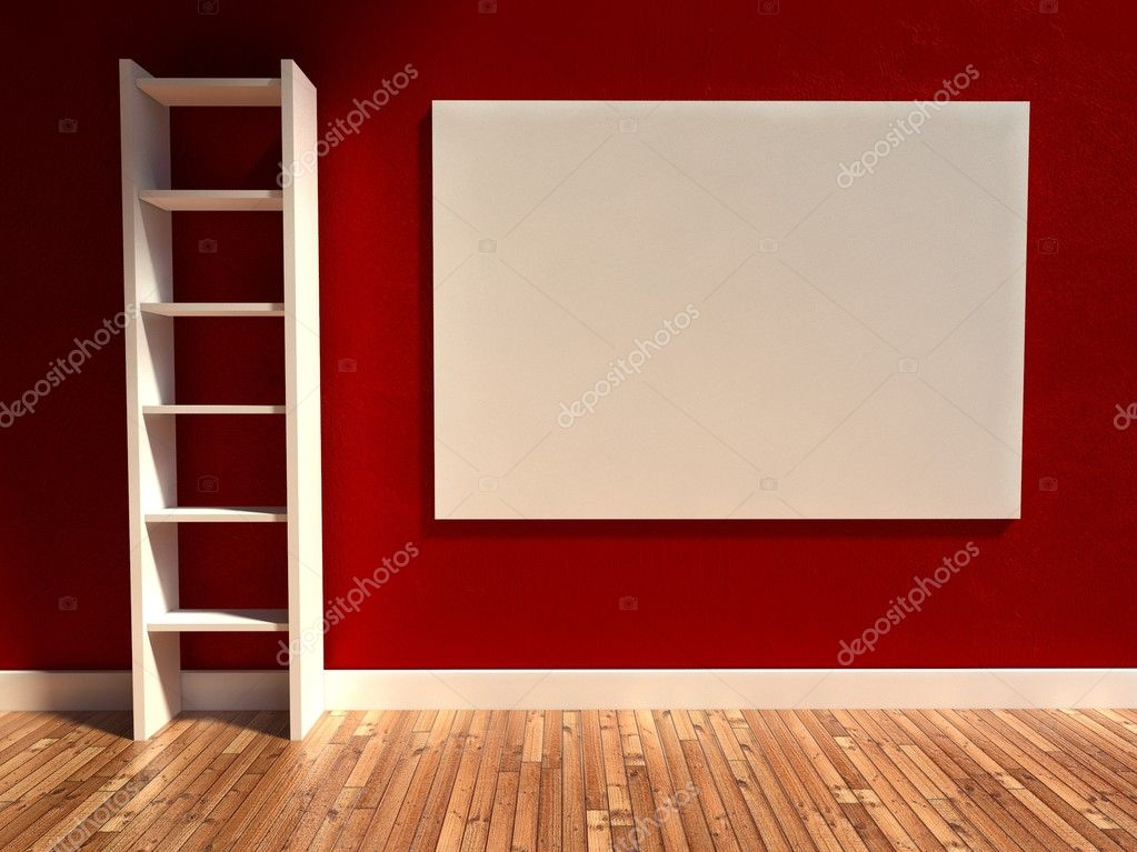 3d modern interior, empty billboard and shelf — Stock Photo #9958007