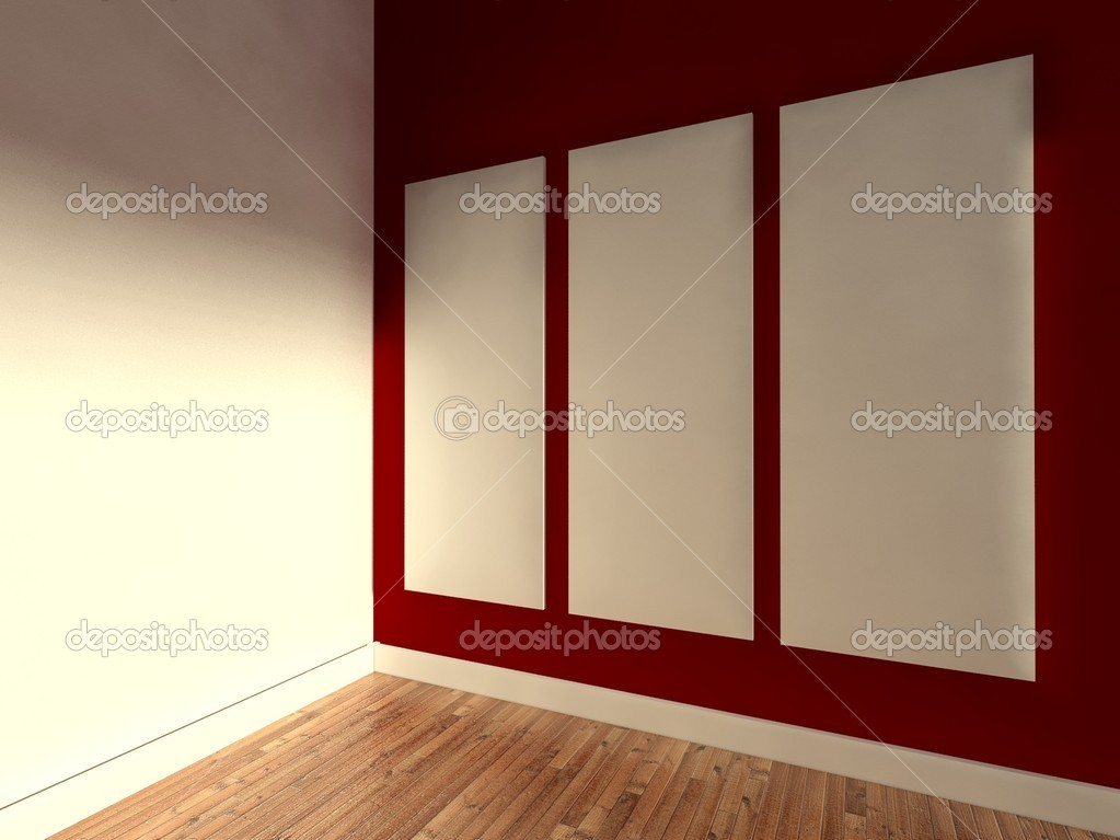 3d modern interior, empty frame  Stock Photo #9958070