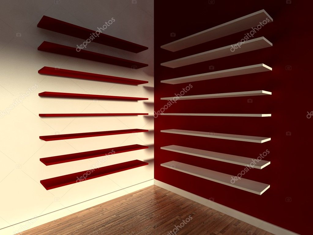 3d modern interior, empty shelf  Stock Photo #9958118