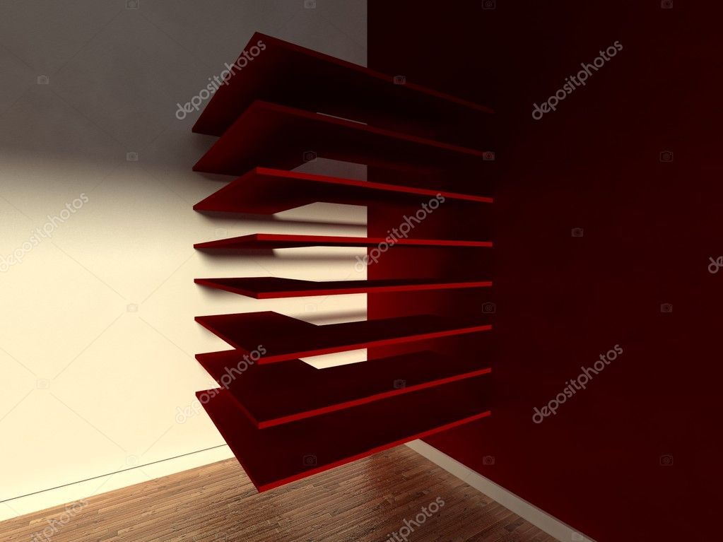 3d modern interior, empty shelf — Stock Photo #9958123
