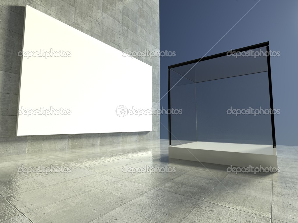 Empty glass showcase, 3d exhibition space — Stock Photo #9958298