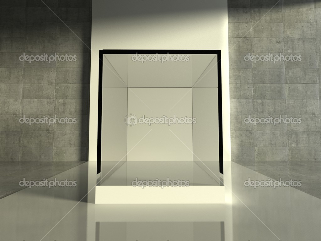 Empty glass showcase, 3d exhibition space — Stock Photo #9958314