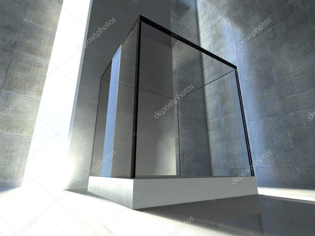 Empty glass showcase, 3d exhibition space — Stock Photo #9958361