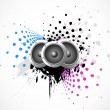 Abstract vector music speaker on grunge art — Stock Vector