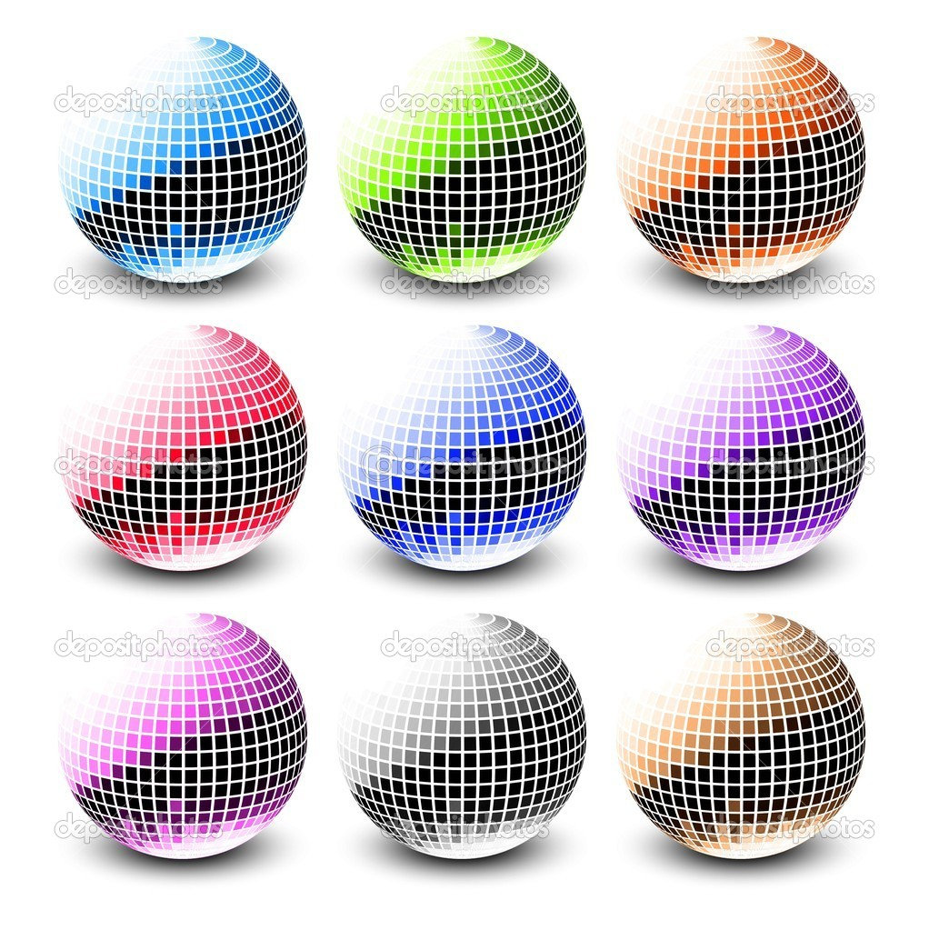 New 3d glossy sphere collection of nine illustration vector design  Stock Vector #10357291