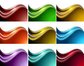 Abstract Collection multicolored set of waves vector — Stock Vector