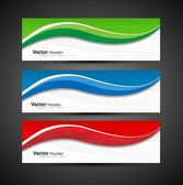Abstract colorful collection banners modern wave — Stock Vector