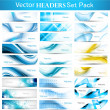 Stock Vector: Abstract Collection Horizontal wave headers vector