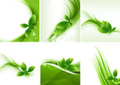 Abstract nature leaf eco ecology wave set vector — Stock Vector