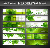 Abstract eco set of vector Headers — Stock Vector