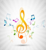 Colorful music notes fantastic — Stock Vector