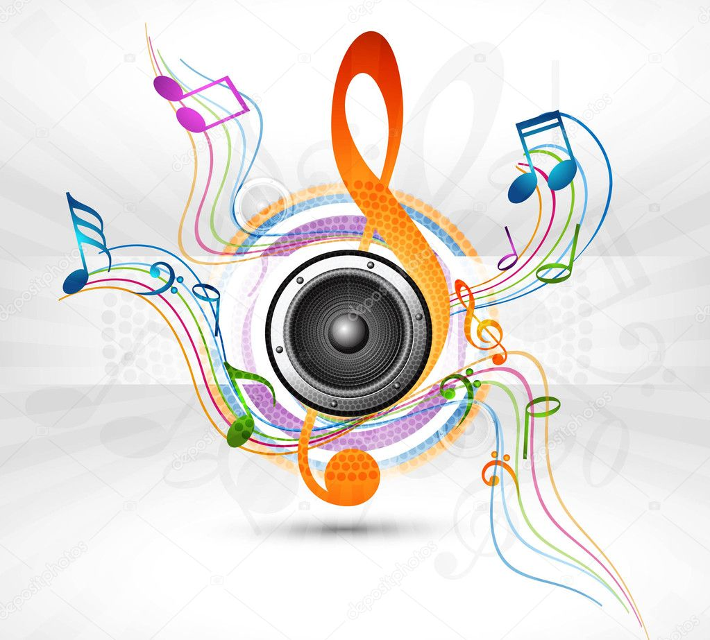 Colorful music speaker notes background — Stock Vector #9642785
