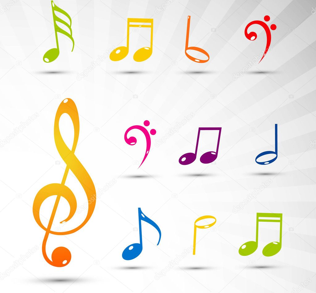 Various colorful musical notes background — Stock Vector #9642836