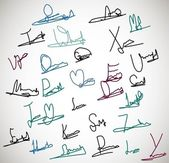 Signature set collection illustration — Stock Vector