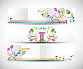 Set of abstract colorful music headers vector — Stock Vector