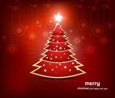 Christmas tree fantastic colorful holiday card — Stock Vector