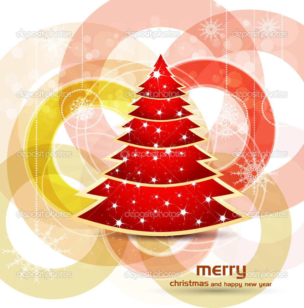 Beautiful bright colorful christmas tree artistic vector design — Stock Vector #9678811