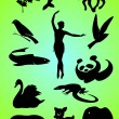Silhouettes and contours of animals and person. Vector. — Stock Vector