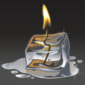 Ice and fire. A candle from an ice floe. Vector. — Stock Vector