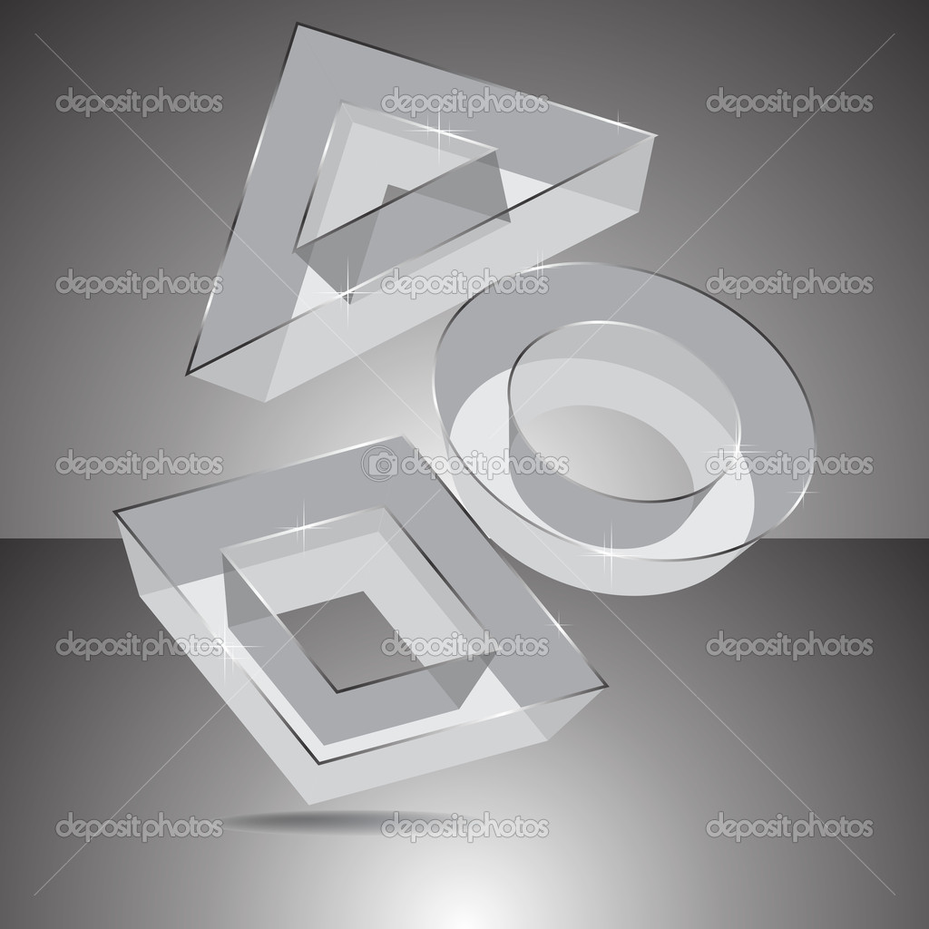 Geometrical transparent figures 3D. Vector.  Stock Vector #10042852