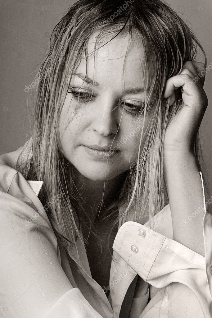 Depressed Woman Crying Portrait of a sad young woman