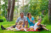Happy family having fun outdoors on a sunny day — Стоковое фото